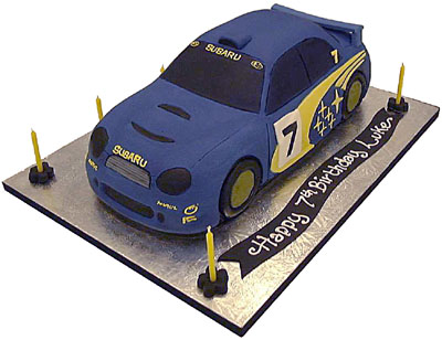 Cars Birthday Cake on 3d Rally Car Blue  Celebration   Birthday Cake
