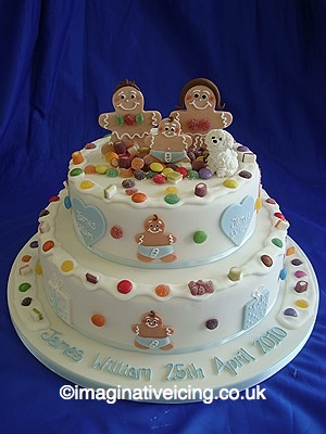 Gingerbread Family Stacked Christening Cake