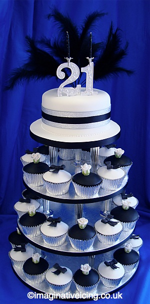21st Birthday Black And White Cake Buns Cupcakes Fairy