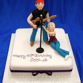 Live Rock Music Fan 40th Birthday Cake