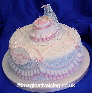 Frills and Filigree Christening Cake