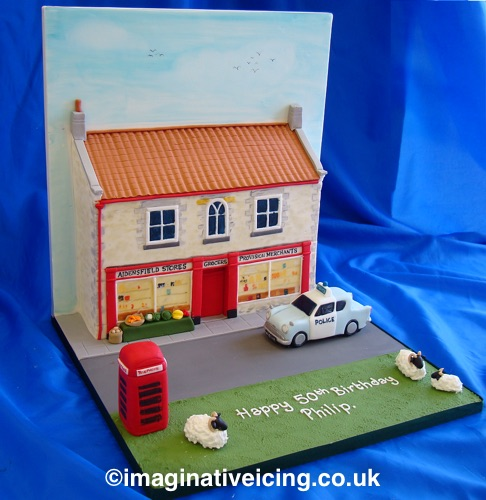 Dads prize winning pumpkins vegetable garden birthday cake - 3d Yorkshire Village Store Heartbeat Birthday Cake