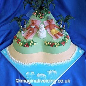 Tropical Island Wedding Bears Wedding Cake