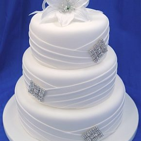 Pleated Diamante White Wedding Cake