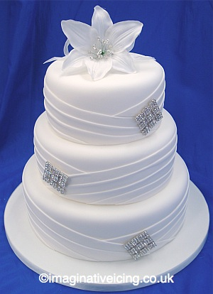 Pleated Diamante White Wedding Cake Imaginative Icing - Cakes - Scarborough, York, Malton ...