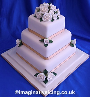 Simply Roses Wedding Cake
