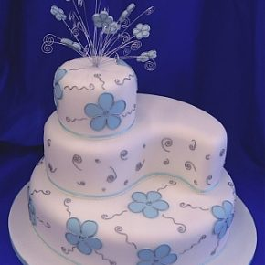 Blossoms & Swirls Wedding Cake