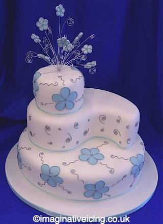 60th Birthday Cakes on Blossoms   Swirls Wedding Cake   Imaginative Icing