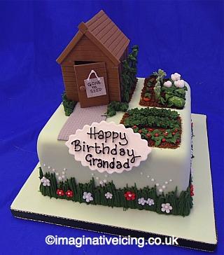 Cake Decorating Gardeners Road : Garden Shed Allotment Birthday Cake Imaginative Icing ...
