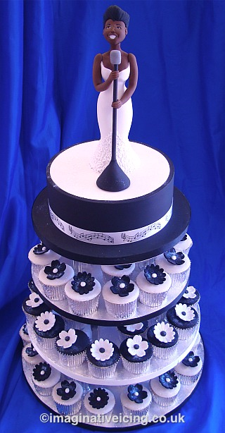 Jazz blues singer birthday cake with black white cupcakes
