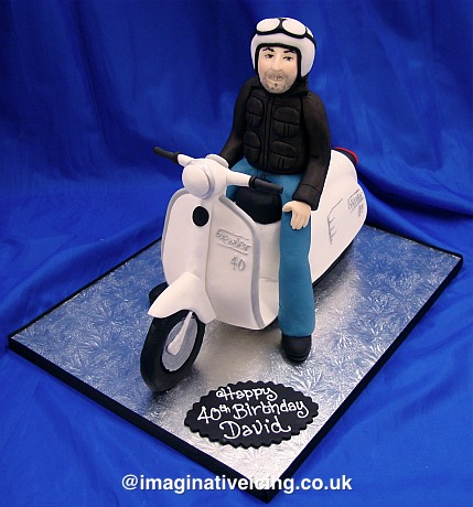 Man Riding A Scooter Birthday Cake Imaginative Icing