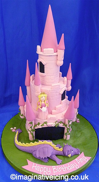 Fairytale Princess Castle Cake with Sleeping Dragon