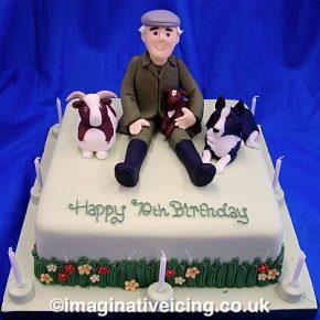 Rare Breed Sheep Farmer with SheepDog - Birthday Cake