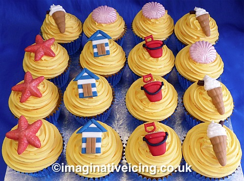 Themed Cupcakes - Decorated with handcrafted sugar items typically found at a Traditional British Seaside Resort