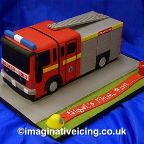 Fire Engine Shaped Birthday Cake