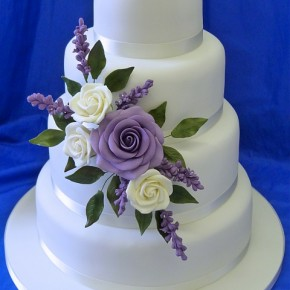 Cream & Lilac Rose & Lavender Wedding Cake