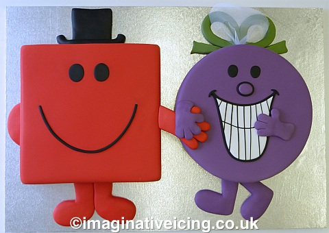 """Roger Hargreaves Mr Strong & Little Miss Naughty finally get Get hitched... 2x 16"""" cakes"""