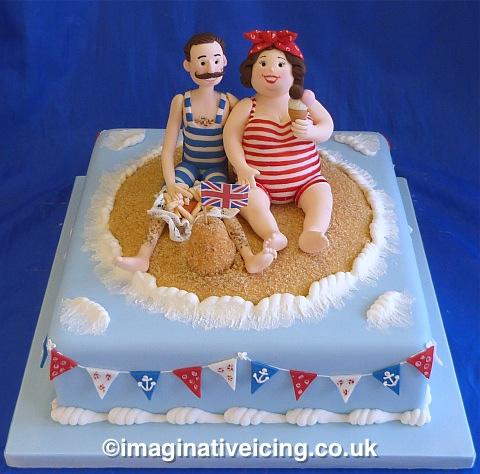 Vintage British seaside cake