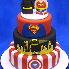 Cute Superhero Wedding Celebration Cake