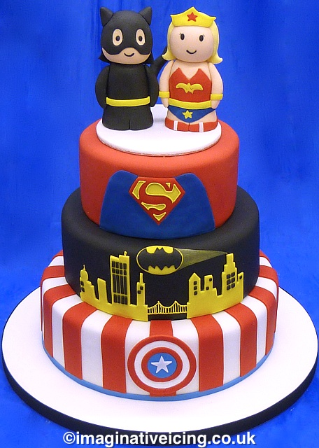 Superheroes Stacked Wedding / Celebration Cake