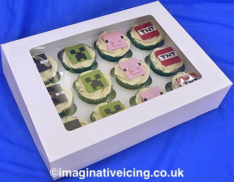 12 Minecraft themed cupcakes boxed
