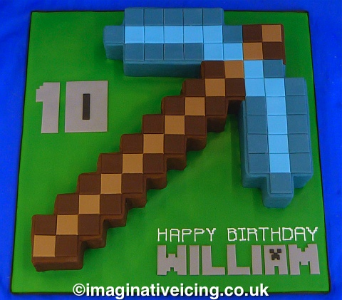 Birthday cake shaped as a Minecraft diamond axe