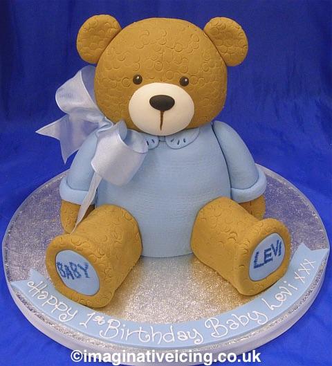 teddy bear shaped christening cake