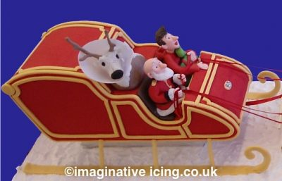 Close up of the Icing models - Arthur Christmas Cake Sleigh